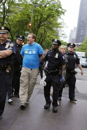 Gus arrested in an act of civil disobedience